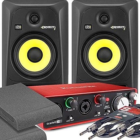 2x KRK RP6 G3 Black Monitor Speakers & Focusrite 2i2
