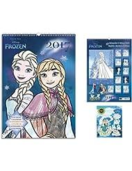 Set: Frozen, El Reino Del Hielo, Calendario Para Colorear 2017 (42x30 cm) Con 1x Pegatina Vinilo Autoadhesivo (12x10 cm)