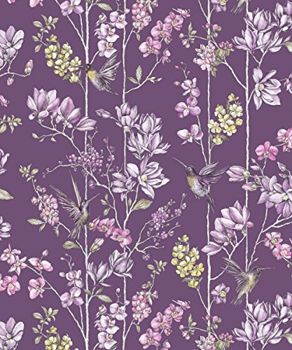holden-decor-tapete-charm-pflaume-fuchsia-floral-kolibris-birds
