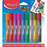 Maped Color'Peps Tubes de colle Pailletées pour enfant Effet Brillant, Facile à utiliser avec Embout Fin - 9 Tubes de 10.5 ml Coloris Assortis