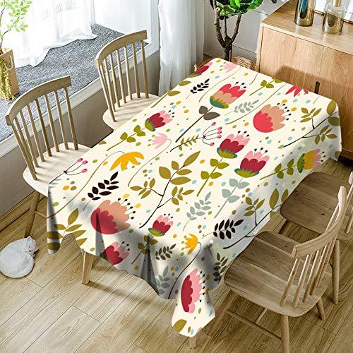 QWEASDZX Mantel Estilo Rural Manteles rectangulares Moderno Mantel Anti-Manchas Lino Anti-Manchas Mantel Lavable Anti-Manchas Adecuado para Interiores y Exteriores 140x180cm