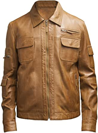 Mens Tan Real Leather Vintage Style Fashion Jacket