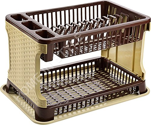2 Tier layer Rattan Style/Lace Design Dish Drainer Cutlery Holder Plate Storage Rack Organizer (Rattan Style, Beige/Brown)
