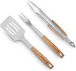 Akazienholz Edelstahl Grillbesteck-Set 3 tlg. von BURNHARD Grillzubehör mit Grillzange, Grillwender und Fleischgabel mit extra-langen Holzgriffen und Aufhänge-Ösen