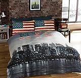 einzeln New York City Amerikanischer umkehrbar Baumwollmischung blau Bettdecke Bettbezug