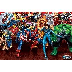 Marvel Pirámide Internacional ataque Póster Heroes, multicolor, 61x 91,5x 1,3cm