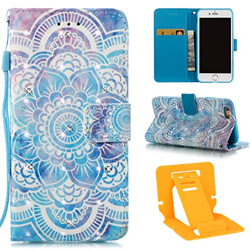 Ekakashop iphone 6S 4.7 Custodia in Pelle, Cover Per iphone 6 portafoglio, Diamante Fashion Colorate 3D Painted Ragazza Fantasia Lusso Libro Wallet PU Pelle Leather Morbido Silicone Inner Shell Disegn Mandala