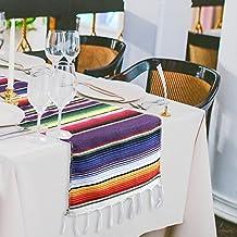 Marry agendo 35,6x 213,4cm messicano Striped runner, multi-colored Fringe poncho in cotone coperta per laurea Fiesta festa di nozze decorazione domestica