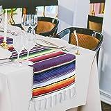 Marry Handeln 35,6x 213,4cm mexikanischen gestreift Tischläufer, bunten Fransen Baumwolle SARAPE Decke für die Graduierung Fiesta Hochzeit Party Home Dekoration