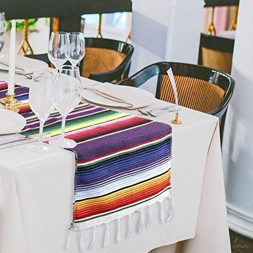 x 213,4cm mexikanischen gestreift Tischläufer, bunten Fransen Baumwolle SARAPE Decke für die Graduierung Fiesta Hochzeit Party Home Dekoration (Fiesta Party Dekorationen)