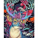 BPAINTF Malen nach Zahlen DIY gemalt Hirsch malerei Tier leinwand Bilder für wohnkultur Dekoration Geschenk 50x65 cm DIY gerahmt