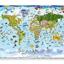 murando - Fototapete Weltkarte für Kinder 200x140 cm - Vlies Tapete - Moderne Wanddeko - Design Tapete - Wandtapete - Wand Dekoration - Kindertapete e-A-0102-a-a