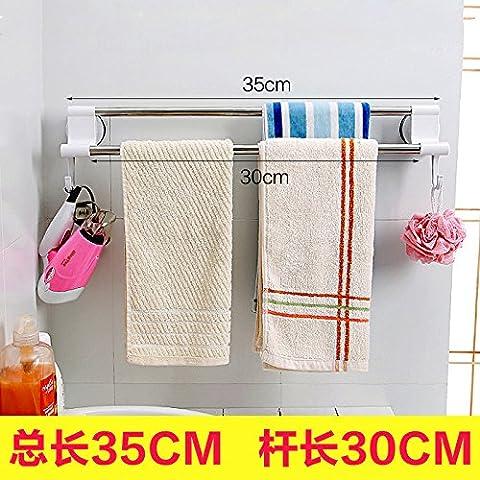 SMJGD Luce di stile moderno minimalista luxury le stanze da bagno sono cassetto rack porta asciugamani bagno in acciaio inox salvietta dal punzone asciugamani da bagno wc a leva da chiodi, sez. B) 35cm lungo semplice e facile da installare