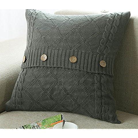 Più colore stile semplice divano cuscino/Tinta unita in cotone lavorato a maglia guanciale/semplice pulsante stile-A 45x45cm(18x18inch)VersionB