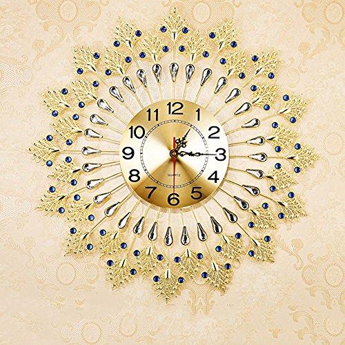 Präzisions-Quarz-Uhrwerk Moderne kreative Mute Personalisierte Schlafzimmer Große Pfau-Quarz-Taktgeber Art und Weise europäische Runde Uhren (Farbe optional) Mit einem Haken (Batterien nicht enthalten) ( Farbe : D )