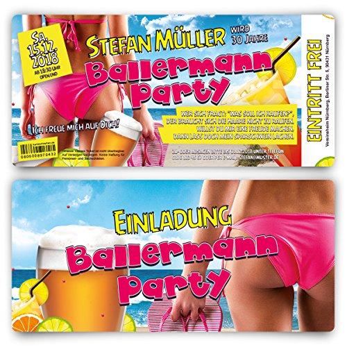 30 x Geburtstag Einladungskarten Ticket Eintrittskarten Geburtstagseinladungen - Ballermann Malle