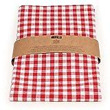 FILU Tischläufer 40 x 150 cm Rot/Weiß kariert (Farbe wählbar) - hochwertig gefertigter Tischläufer aus 100% Baumwolle im skandinavischen Landhaus-Stil