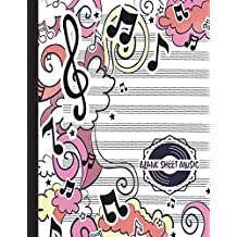 Blank Sheet Music: Pretty Music Journal for Kids   Music Manuscript Paper   Staff Paper   12 Staves Per Page   100 pages   Large A4   Musicians Notebook