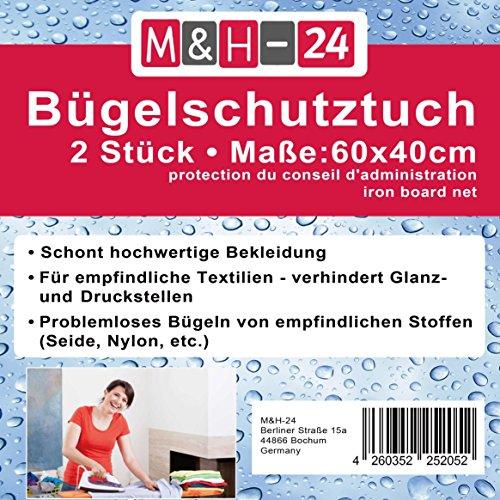 M&H-24 2 Stück Bügeltuch für Dampf-Bügeleisen Bügelschutz Bügelhilfe Bügeltücher für Seide, Nylon, Perlon und andere Empfindliche Stoffe bis 200° C hitzebeständig
