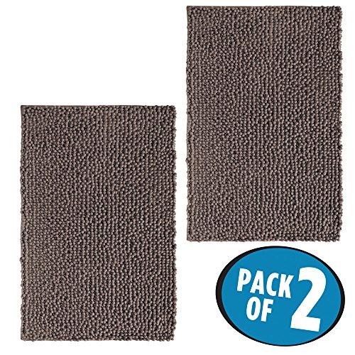 mDesign Alfombra de baño de fácil cuidado – Set de 2 - Hecha en microfibra ideal para el baño o la cocina – Además esta alfombra de bañera es antideslizante y de rápido secado – Color: mocca