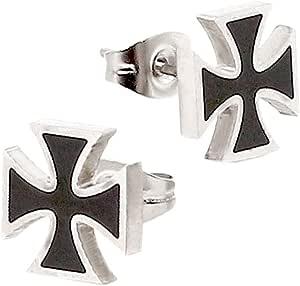 2 Orecchini a perno Piercing Croce di Ferro Uomo Color Argento Nero Ø 10mm