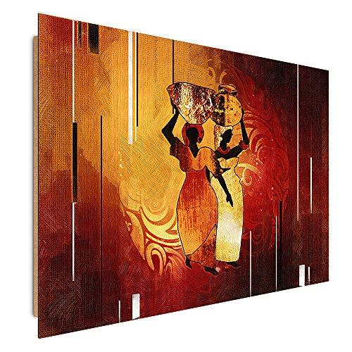 Feeby Frames Tableau Mural, Tableau Déco, Tableau imprimé, Tableau Deco Panel, 78x118 cm, Afrique, Femmes, CRUCHES, Brun, Orange