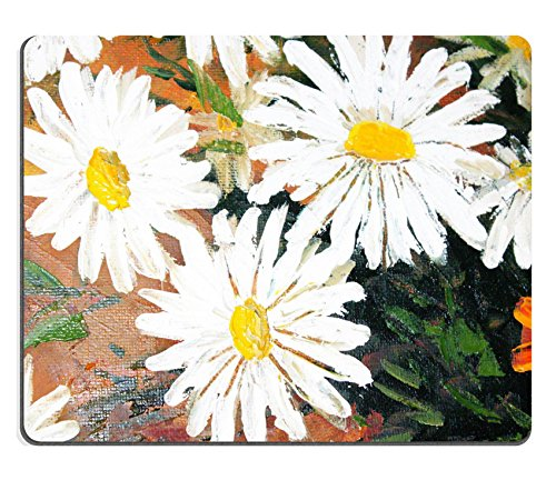 Luxlady Mousepads Daisy Flowers Strokes on Paint Picture macro Image 39092165Customized Art desktop laptop Gaming Mouse pad
