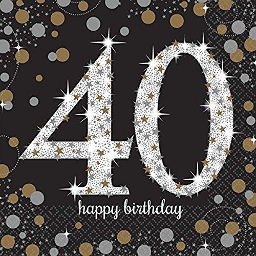 40.ster Geburtstag. Komplettes Party Set zum 40 Geburtstag Gold Schwarz Silber plus Glitter, 41 Teile komplette Dekoration zum 40 Happy Birthday - 8
