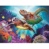 Sonnena DIY Diamond Painting, Korallenriff Schildkröte Fisch Muster 5d Diamant Stickerei Bilder Kreuz Stich Home Wall Décor Diamond Dekoration (Schildkröte, 30 * 40cm)
