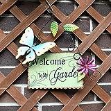 Schmetterling Willkommen Schild zum Aufhängen Wandkunst Metall Garten Schilder Deko für Veranda Outdoor Decor Welcome to My Garden Garten grün