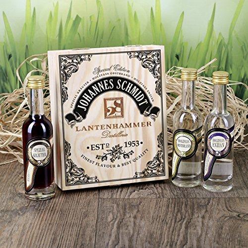 Privatglas Geschenkbox Lantenhammer Schnaps mit gratis Namen & Geburtsjahr
