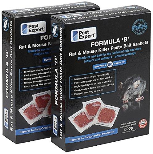 Appât raticide en pâte Formule «B» 1Kg (100 sachets) de Pest Expert.