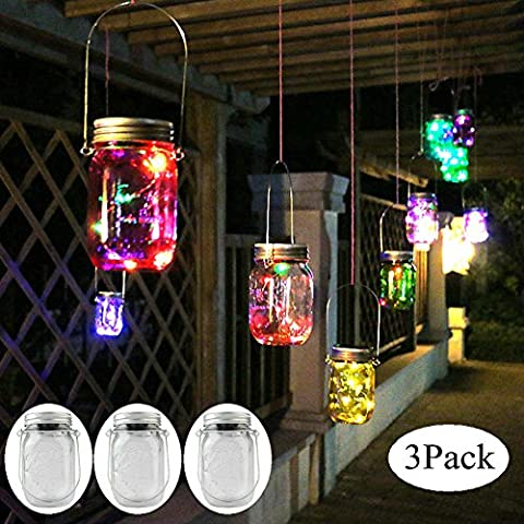 3Pack Colorful Solar Mason Jar Light Fairy Lights Jar Lid Insert with 10 LED Garden Decor Lamps Outdoor Rope Lights
