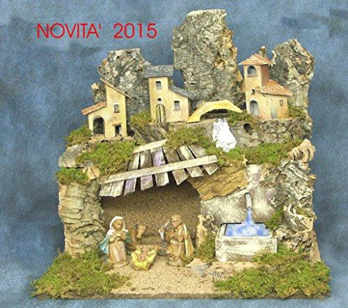 Presepe fatto a mano in ITALIA con fontana funzionante cm 41x34x39