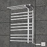 miaoge® 90W Handtuchwärmer 304# Edelstahl Spiegel poliert Trocknen Rack Wandhalterung 110-120V