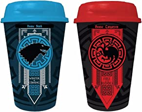 Game of Thrones Stark with Targaryen House Logos Plastic Sippers | Shakers (Pack of 2)
