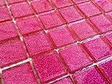 Klarglas Mosaik Fliesen Matte in dunklem Pink mit Glitzer. Verkleidung für Wände (MT0018) (10cm x 10cm Muster)