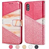 ZCDAYE Wallet Case for iPhone XR,Premium Bling Glitter [Magnetic Closure] PU Leather [Ceramic Pattern] Stand Folio Inner Soft TPU with [Card Slots] Flip Cover for iPhone XR - Red
