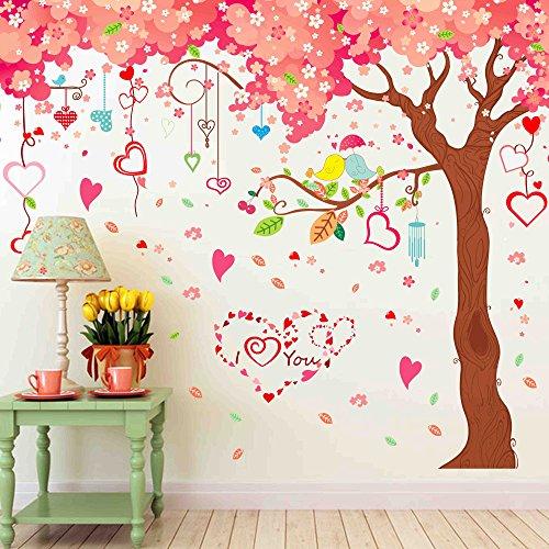3D Wandtattoo Wandtattoo Schlafzimmer Wandstickergroßes Wandaufkleber-Papierwohnzimmer Fernsehhintergrundwand, Erstes Bild Des Kirschbaums (Drei Stück), Oversize