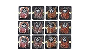 Caja Snacks Salados - 12 sobres de embutido de jamón, lomo, chorizo y salchichón con picos de pan para llevar y tomar donde quieras