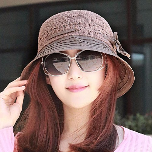 XINQING-MZ Im Sommer von CAP 100 Falten entlang der Becken cap Grafiken Gesicht h-Kappe, Maske, harten Hut Sommer Sonne hat, Braun/A