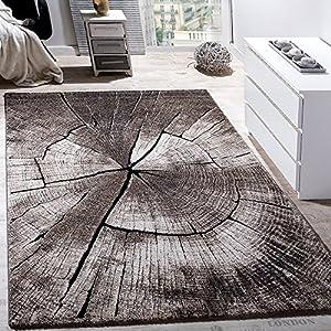 Paco Home Edler Designer Teppich Wohnzimmer Holzstamm Baum Optik Natur Grau Braun Beige, Grösse:160x230 cm