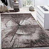 Alfombra De Salón De Diseño Elegante Estampado De Tronco De Madera Natural Gris Marrón Beige , tamaño:80x150 cm