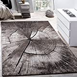 Paco Home Tapis Design Élégant Salon Tronc d'arbre Effet D'Optique Nature Gris Brun Beige, Dimension:140x200 cm