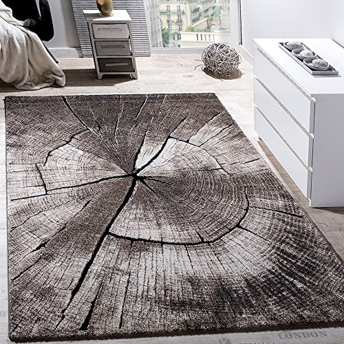 3db029091a3d8c Paco Home Tapis Design lgant Salon Tronc d arbre Effet D Optique Nature Gris
