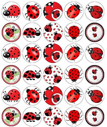 30 Marienkäfer Insekten Käfer Cupcake Toppers Essbare Oblatenpapier Fairy Cake Toppers Geburtstag Kuchen Toppers (Essbare Cake Topper Taufe)