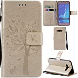 Ooboom® Samsung Galaxy J5 2016 Case Cat Tree Pattern PU Leather Flip Cover Wallet Stand with Card/Cash Slots Packet Wrist Strap Magnetic Clasp for Samsung Galaxy J5 2016 - Gold