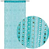 Bestlivings Fadengardine Türvorhang Fadenvorhang Metallikoptik mit Stangendurchzug, trendig schön in vielen erhältlich (90x200 cm/türkis - ozeanblau)