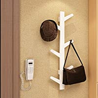 Woodluv 6 Hook Wall-Mounted Bamboo Tree Branch Coat Hook Clothes Hanger Rack Holder-White (Fixings Included)