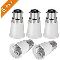 Yblntek B22 to E27 5-Pack Lamp Holder Converter Base Bulb Socket Adapter LED Light Screw Adapter Converter